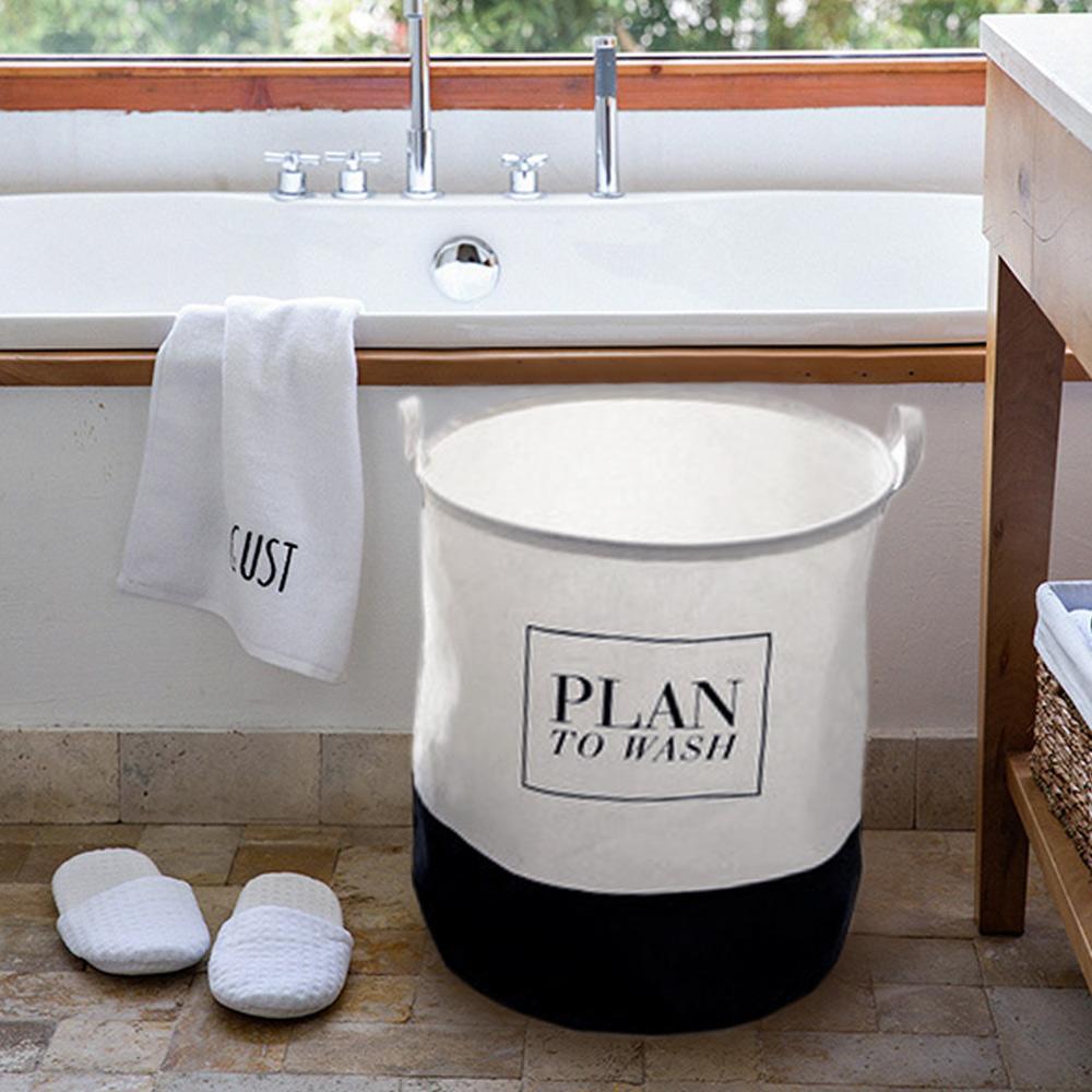 【收納職人】清新簡約英文棉麻大容量收納桶/洗衣籃/髒衣籃 (圓桶-Plan)