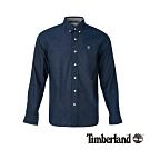 Timberland 男款寶石藍修身彈性長袖襯衫|A1WSA