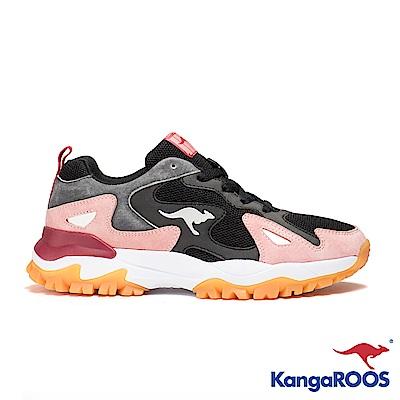 KangaROOS 美國袋鼠鞋 女 GROOVE 越野老爹鞋(黑粉)