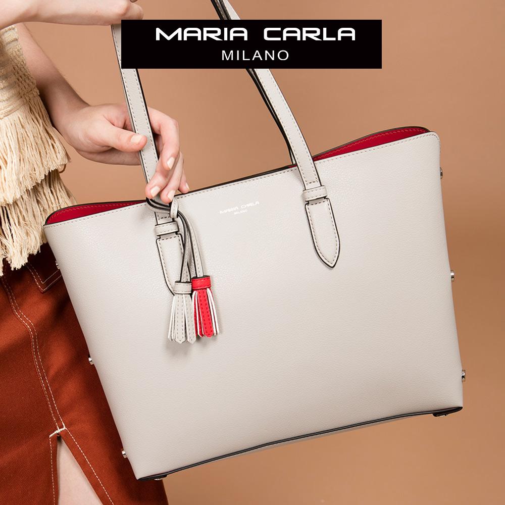 Maria Carla 手提肩背包-牛皮中托特_知性OL、清新朝氣系列(乾燥玫瑰)象牙白