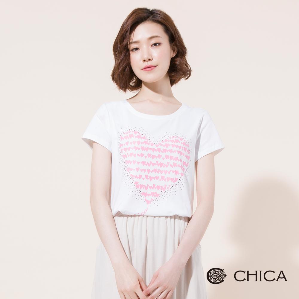 CHICA 心心相印燙印圖騰貼鑽T恤(2色)