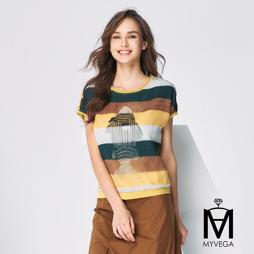 MYVEGA麥雪爾 MA高含棉3D雙層時尚針織上衣-黃