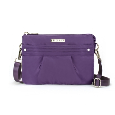 【ELLE Active】知性優雅系列-輕薄多夾層側背包-紫色