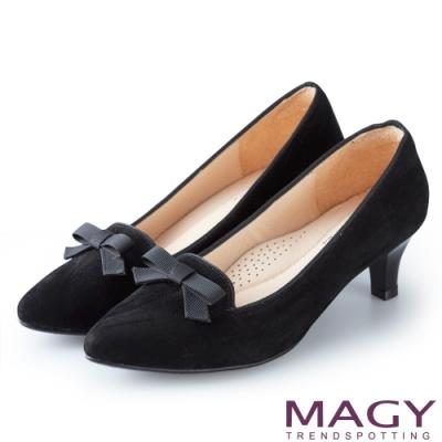 MAGY 氣質首選 質感絨布百搭中跟鞋-黑色