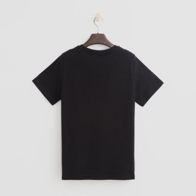 Hang Ten - 女裝 - 有機棉-簡約純色英文字T桖 - 黑