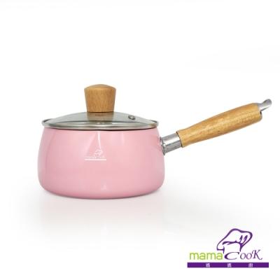 義大利Mama Cook日式木柄縮口陶瓷不沾牛奶鍋組-粉紅色(14cm附蓋)