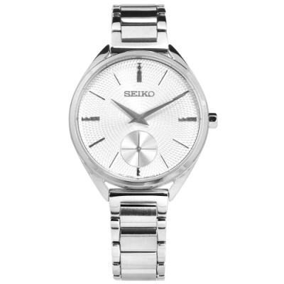 SEIKO 精工 都會女伶 獨立秒針 礦石強化玻璃 日本機芯 不鏽鋼手錶-銀色/35mm