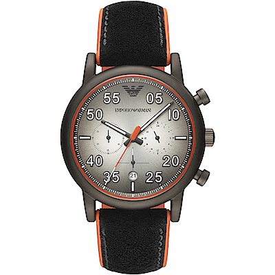 Emporio Armani 質感時尚計時皮革手錶(AR11174)-灰X黑/43mm