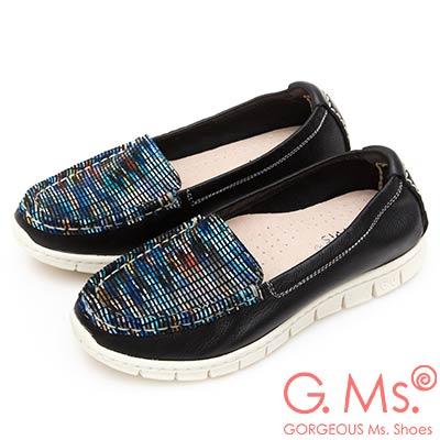 G.Ms. MIT極輕量-牛皮釉彩格紋莫卡辛休閒鞋-黑色