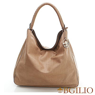 義大利BGilio-水染牛皮大方帥氣肩背包-杏色 2046.002C-06
