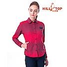 【hilltop山頂鳥】女款ThermoTech保暖長袖襯衫C05F21蔓越莓
