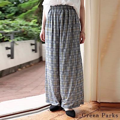 Green Parks 高腰寬版格紋印花褲
