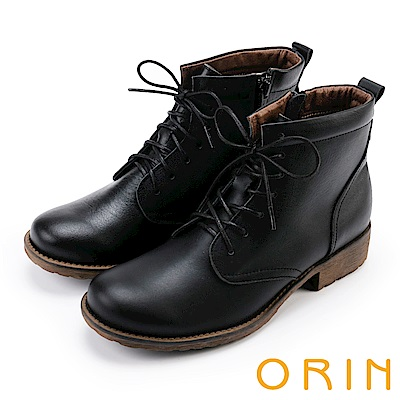 ORIN 中性帥氣 蠟感牛皮綁帶短筒靴-黑色