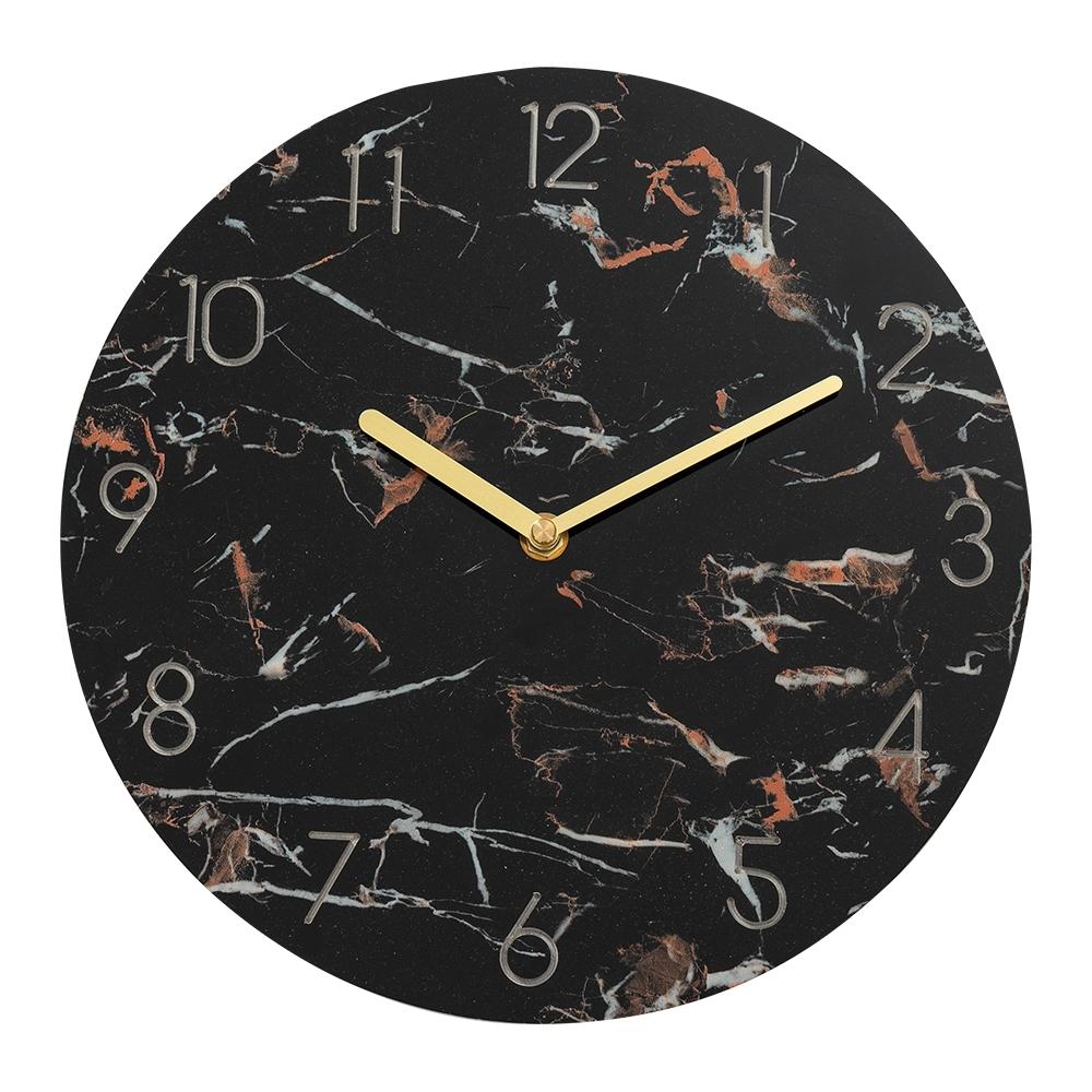 樂嫚妮 仿大理石紋掛鐘/時鐘/11吋/低噪-黑