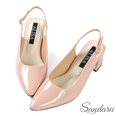 山打努SANDARU-中跟鞋 韓版簡約後空漆皮尖頭鞋-粉