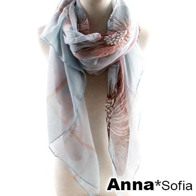 AnnaSofia 霓彩陽葵 巴黎紗披肩圍巾(粉白淺藍系)