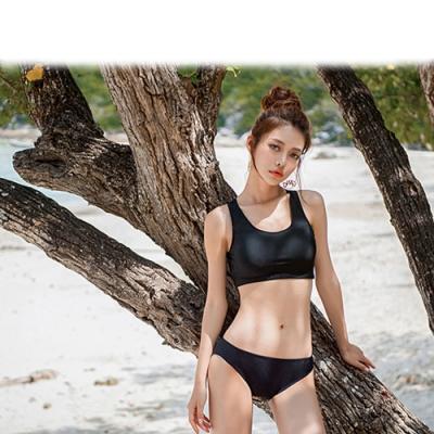 Biki比基尼妮泳衣,明曉黑後工字基本款二件式泳衣比基尼M-2XL(比基尼+三角褲)