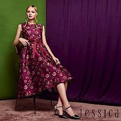 JESSICA - 優雅玫瑰印花鑽飾腰帶過膝洋裝