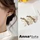 【3件5折】AnnaSofia 彩帶鑽晶蝶結 925銀針耳針耳環(金系) product thumbnail 1