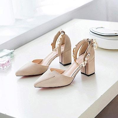 KEITH-WILL時尚鞋館 狂賣千雙鑽鑽粗跟鞋-米色