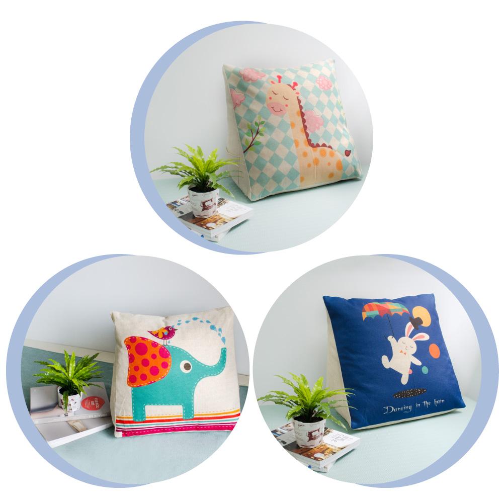 【收納職人】Zakka日系雜貨風棉麻織紋舒壓三角抱枕/靠枕/腿枕(款式隨機)