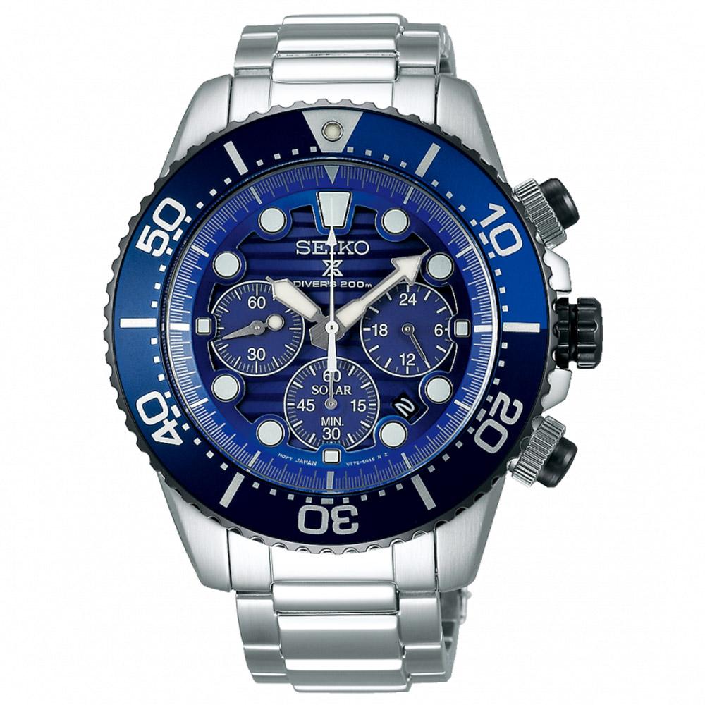SEIKO精工 Prospex愛海洋太陽能計時潛水錶(SSC675P1)-藍/43.5mm