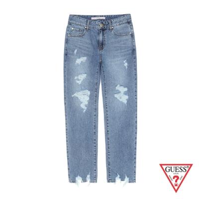 GUESS-女裝-褲管刷破牛仔褲-藍
