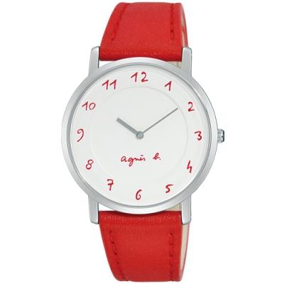 agnes b. 法式風情簡約薄型腕錶(BG4005P1)-白x紅/33mm
