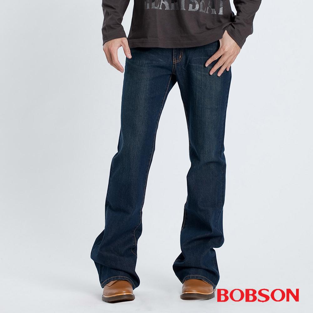 BOBSON 男款中藍伸縮喇叭褲