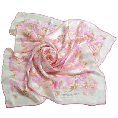 YSL 品牌字母LOGO繽紛花朵風格圖騰優雅100%絲質帕領巾(粉色系)