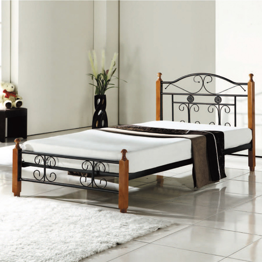 文創集 史特雙色3.5尺單人實木鋼床(不含床墊)-105x205x96cm免組