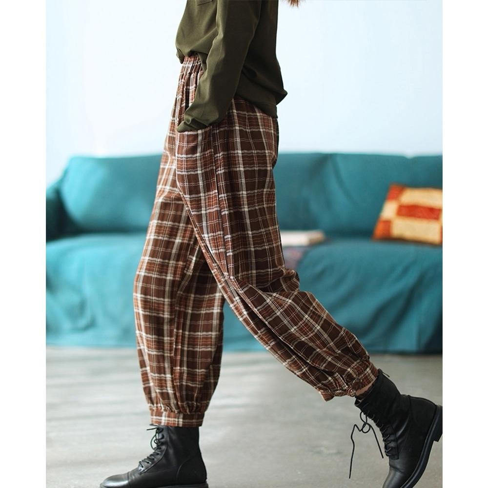 棉麻格子寬鬆顯瘦老爹褲百搭九分褲子二色可選 -設計所在