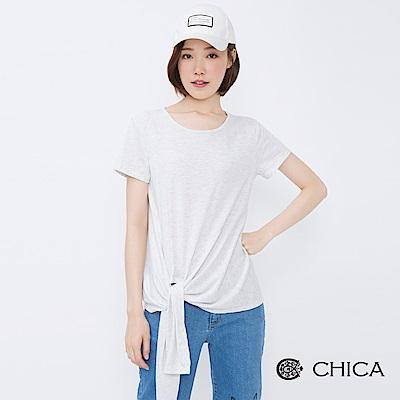 CHICA 率性簡約側綁帶設計棉柔上衣(1色)