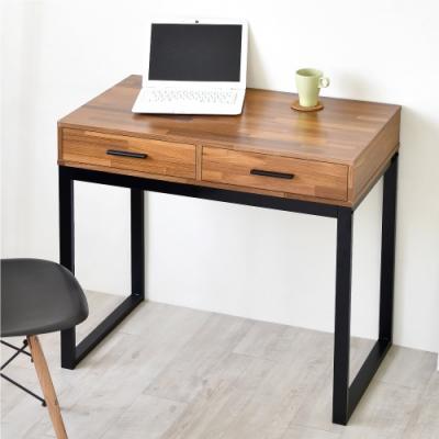 《HOPMA》DIY巧收復古二抽工作桌-寬90x深50x高78cm