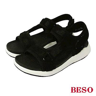 BESO-時尚酷感-異材質運動休閒運動涼鞋-黑