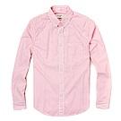 麋鹿 AF A&F 經典刺繡麋鹿長袖襯衫-粉白條紋