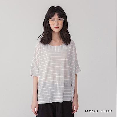 【MOSS CLUB】條紋拼接造型-上衣(共三色)