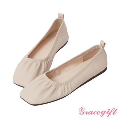 Grace gift-素面方頭抓皺娃娃鞋 米白