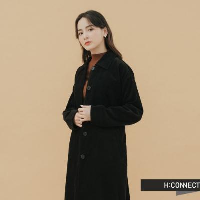 H:CONNECT 韓國品牌 女裝-排扣附腰帶長版外套-黑