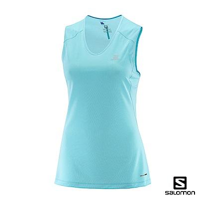 Salomon 女 吸濕排汗 TRAIL RUNNER 運動背心 光芒藍