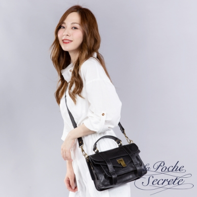 La Poche Secrete側背包 簡約羊皮仿舊金屬釦手提斜側背包-百搭黑