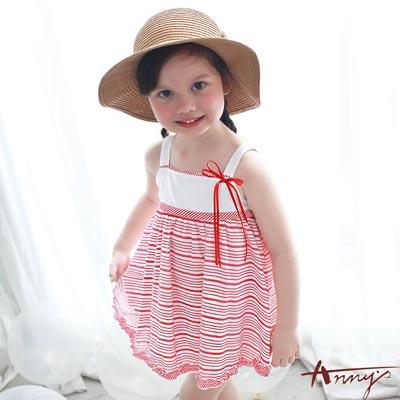 Annys甜美清透吊帶條紋層次洋裝*7550紅