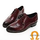 【GEORGE 喬治皮鞋】女紳綁帶雕花牛津中跟鞋-酒紅色