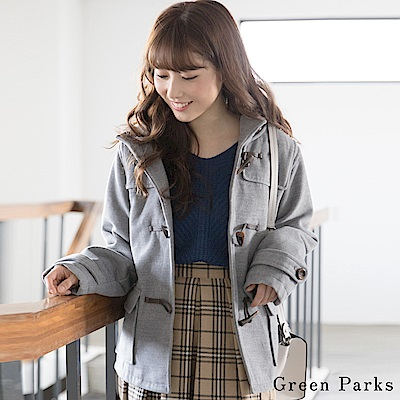 Green Parks 短版連帽牛角釦大衣外套