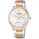 CITIZEN 星辰光動能質感簡約時尚手錶EW2456-88D-珍珠貝X半金/35mm