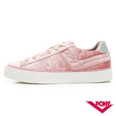 【PONY】TOP STA系列絨毛鞋面低筒百搭復古帆布鞋 女鞋 粉紅