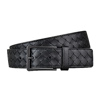 BV BOTTEGA VENETA經典編織設計小牛皮扣式皮帶(黑)