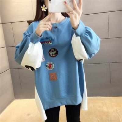 【韓國K.W.】(現貨)印花搞怪假兩件蝙蝠袖上衣-1色