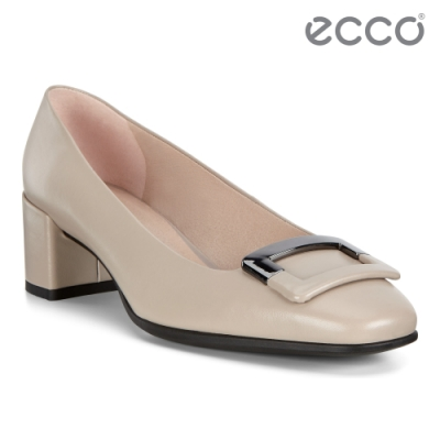 ECCO SHAPE 35 SQUARED 復古時尚方頭高跟鞋 女鞋-灰粉色
