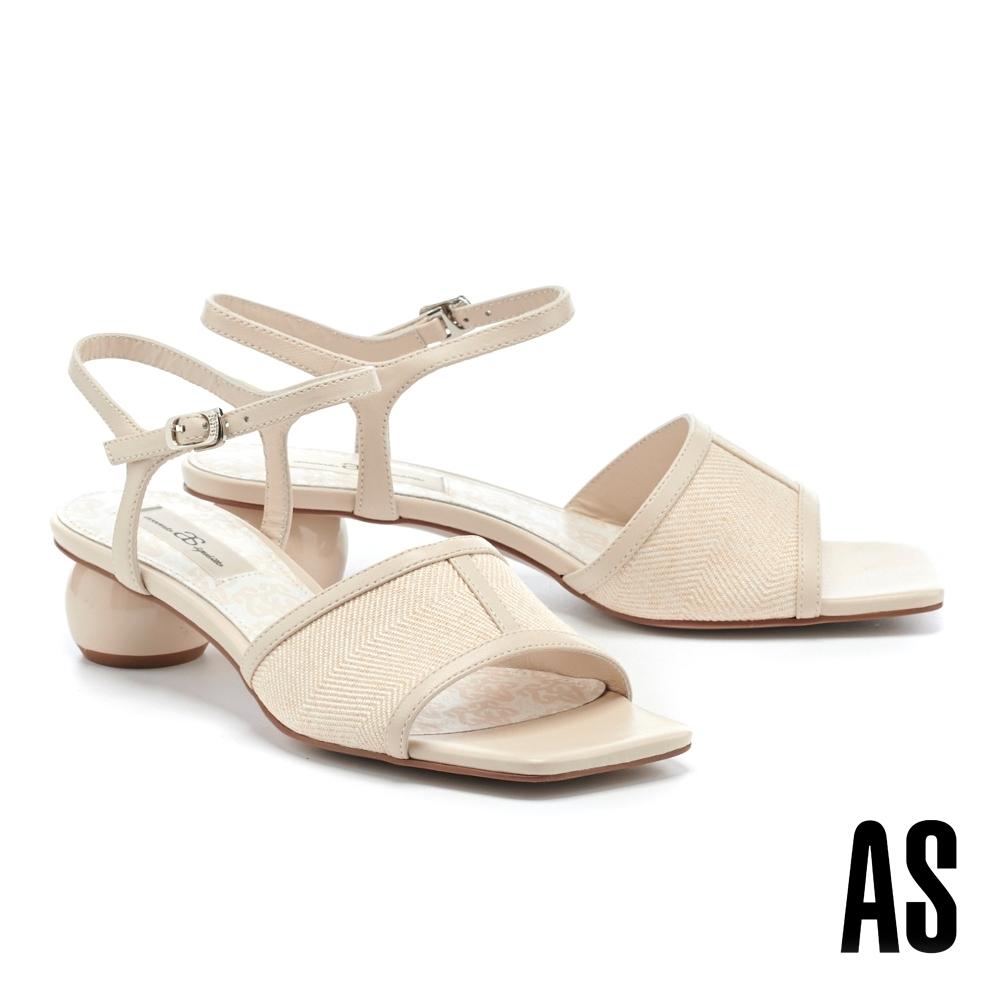 涼鞋 AS 悠閒風情異材質拼接斜紋布羊皮方頭低跟涼鞋-米